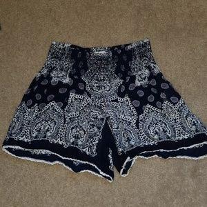 Patrons of Peace Blue Smocked Waist Boho Shorts